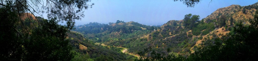 Panorama of a part of Griffith Park in the city of Los Angeles, California