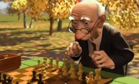 3D animation of an old man at a chess set